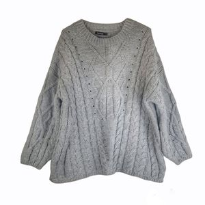 Boohoo Chunky Cable Knit Crewneck Sweater